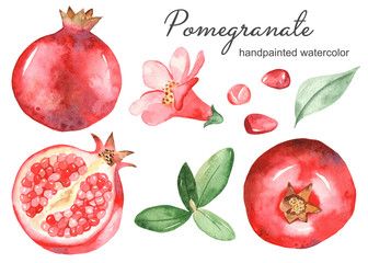 Watercolor set with pomegranate, flower, garanate leaves, half pomegranate, pomegranate grain