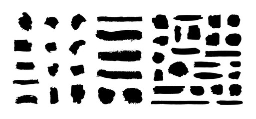 Vector Ink Brush Strokes Black Silhouettes Set Isolated on White Background, Graphic Design Elements.