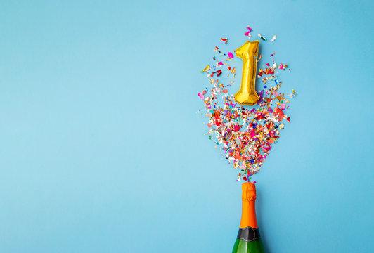 1st anniversary champagne bottle balloon pop