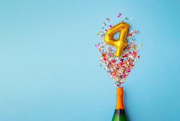 4th anniversary champagne bottle balloon pop Wall mural