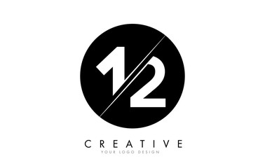 12 1 2 Number Logo Design with a Creative Cut and Black Circle Background. Fotomurales