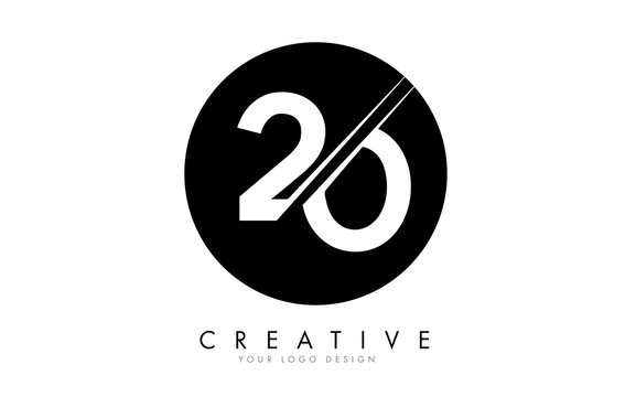 20 2 0 Number Logo Design with a Creative Cut and Black Circle Background.