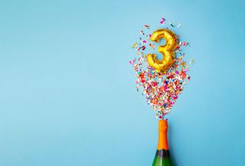 3rd anniversary champagne bottle balloon pop Wall mural