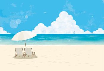 ビーチとパラソル水彩