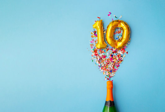 10th anniversary champagne bottle balloon pop