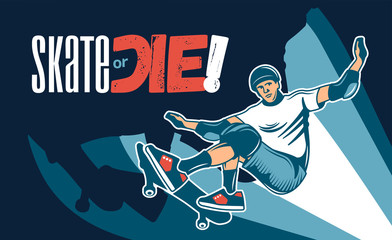 Skateboarding Colored Hand Drawn Illustration