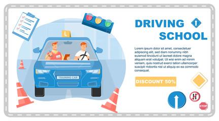 Driving School Banner  Fototapete