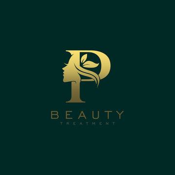 Letter P Luxury Beauty Face Logo Design Vector