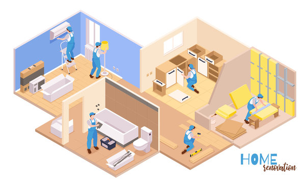 Isometric Home Repairs Composition