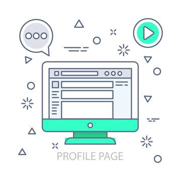 Profile Page vector illustration flat design concept. EPS 10 File