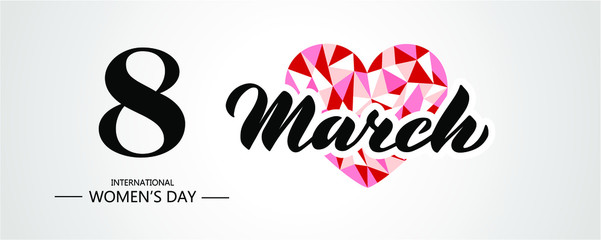 Banner for International Women's Day. Flyer on March 8. Invitations with black number 8 with heart and with text. Vector illustration EPS 10