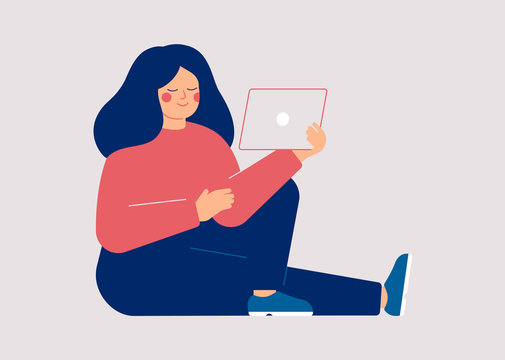 Young woman watching video on the tablet pc. Female user of social media networks. Girl spending time online at home or at work. Vector illustration