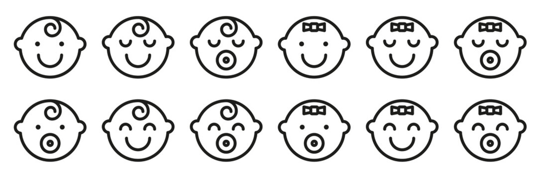 Set baby face simple icons. Varied expressions symbols.