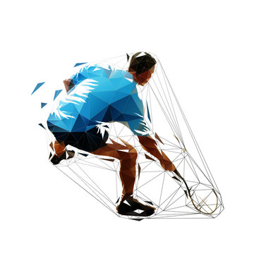 Squash player, low polygonal isolated vector silhouette. Geometric athlete with racket