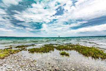 Wild weather at Lake Constance in summer time