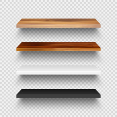 Tuinposter Op straat Realistic empty wooden store shelves set. Product shelf with wood texture. Grocery wall rack. Vector illustration.