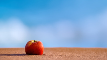 Red apple lying on the shores of a sandy beach against a blue and white background of ocean and surf Wall mural