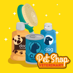 pet shop veterinary with care bottles and icons vector illustration design