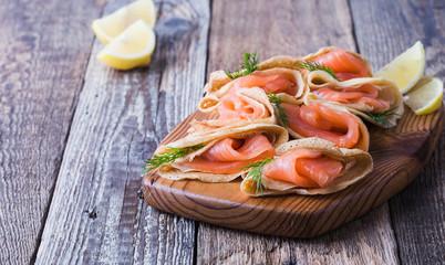 Russian style blini with smoked salmon, holiday Maslenitsa  ppetizer