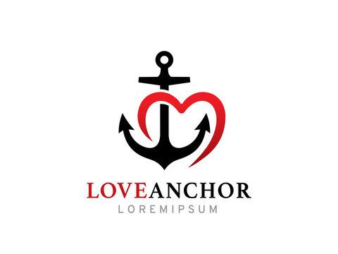 Love anchor logo template design, icon, symbol