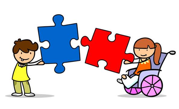 Kinder mit Mädchen im Rollstuhl halten Puzzle