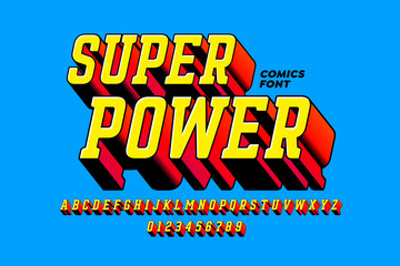 Super Power comics style font, alphabet letters and numbers