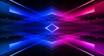 Fotomurales - Empty stage, blue and pink, purple  neon, abstract background. Rays of searchlights, light, abstract tunnel, corridor. Dark futuristic background, smoke, smog.