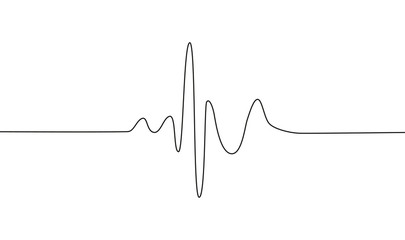 Human heart and rhythm silhouette, single continuous black line. Healthy, medicine. Sketch, outline drawing.