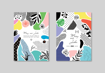 Card Layout Set with Textures and Floral Elements