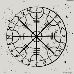 Aegishjalmur. Scandinavian runic amulet with a futhark in a circle. Symbol of protection. Helmet of Horror.