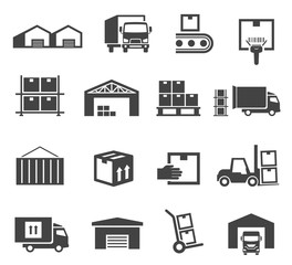 Warehouse and storage industry icon business set