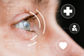 Eye monitoring and treatment on virtual online panel healthcare and medicine.