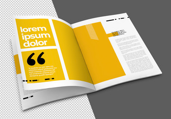 Open Brochure Mockup with Transparent Background