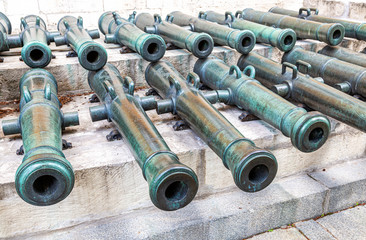 Russian ancient field bronze cannons