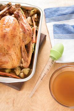 turkey with baster on kitchen counter