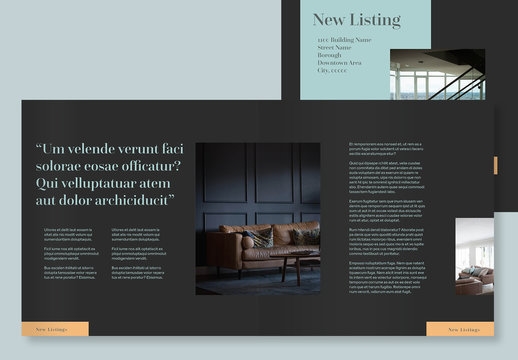 Dark Gray Brochure Layout with Orange and Teal Accents