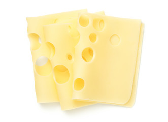 Emmentaler Cheese Slices Isolated On White Background