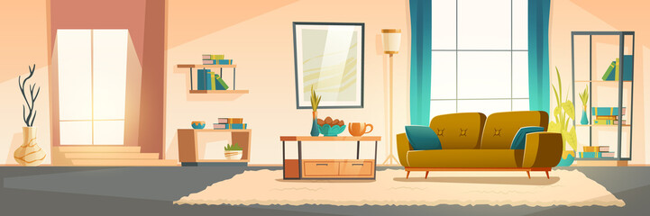Living room interior with sofa, bookshelves and plants. Vector cartoon illustration of modern lounge with big window, blue curtains, carpet and picture on wall