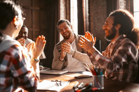 Applause Of Multi-Ethnic American Start Up Team
