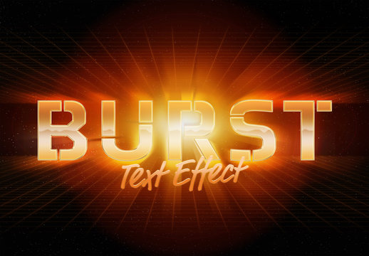 Burst Style Text Effect Mockup