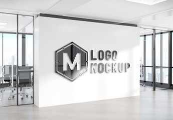 Logo Mockup on Office Wall