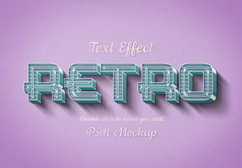 Retro 3D Text Effect Mockup with Pink and Blue Stripes