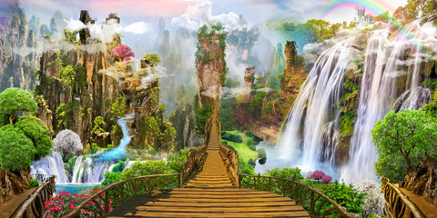 Foto op Textielframe Watervallen Fantasy landscape. fairy world, digital mural