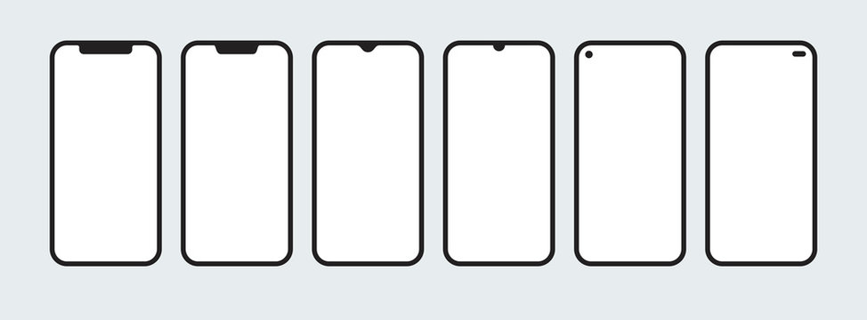Set of smartphone shapes with blank screens in flat style. Cell phone with sensor display in various constructive designs. Isolated icons of mobile devices with empty space. EPS8 vector illustration.