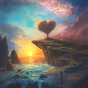 Digital Painting of Heart Landscape
