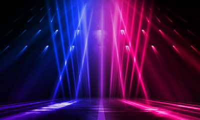 Fotomurales - Empty stage, blue and pink, purple  neon, abstract background. Rays of searchlights, light, abstract tunnel, corridor.