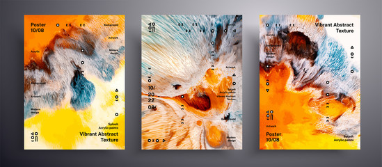 Fototapete - Abstract acrylic poster, fluid art vector texture set. Beautiful background that applicable for design cover, poster, brochure and etc. Yellow, orange, blue and white unusual creative surface template