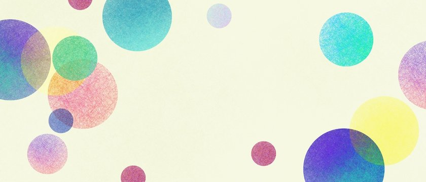 Abstract modern art background style design with circles and spots in colorful pink, blue, yellow, red, green, and purple on light beige or white background