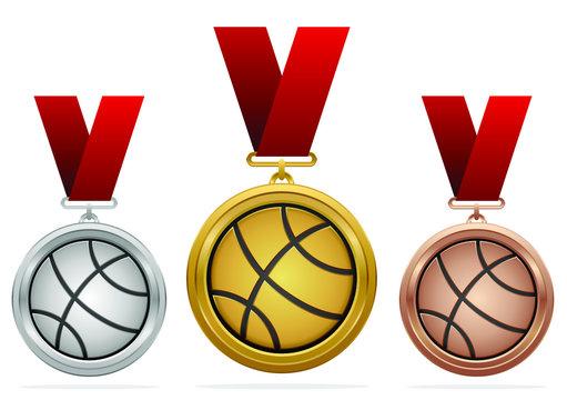 Vector basketball medals set