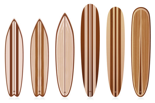 Vintage wooden surfboards set. To see the other vector surfboard illustrations , please check Surfboards collection.